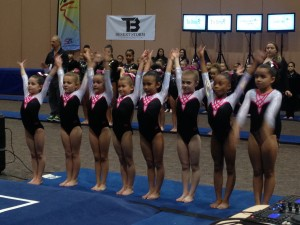 Level 3's salute as Kips School of Gymnastics was introduced over the load speaker. Palm Springs, CA